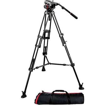 Manfrotto 504HD Fluid Head With 546B Tripod Kit Plus Spreader  and  Bag