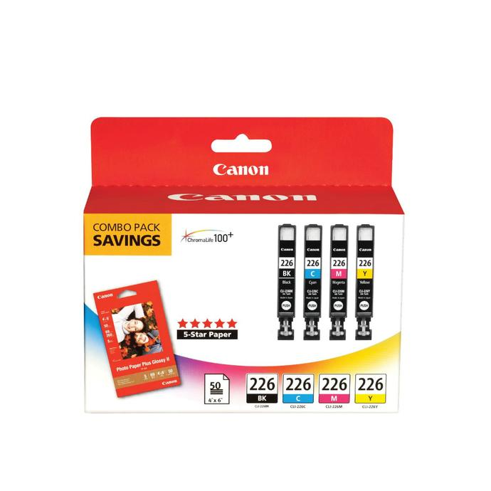 Canon Cli 226 4 Color Ink Tank With 50 Sheets 4x6 Photo Paper Plus
