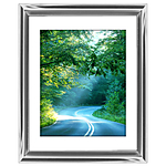 11x14 Custom Silver Metal Frame, White Mat with Glass