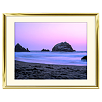 14x11 Custom Gold Metal Frame, Off-White Mat with Glass