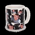 11 oz White Ceramic Tiled Photo Mug