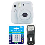 Fujifilm Instax Mini 9 Smokey White Camera with Batteries  and  Battery Charger