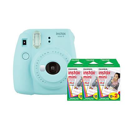 Fujifilm Instax Mini 9 Ice Blue Camera with Three Mini Film Twin Packs
