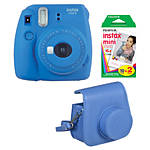 Fujifilm Instax Mini 9 Cobalt Blue Camera with Film  and  Groovy Case
