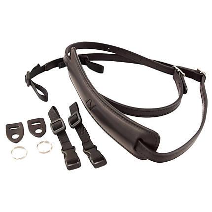 4v Lusso Tuscany Leather Medium Neck Camera Strap - Black and Black