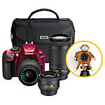 Nikon D3400 DSLR Triple Lens Parents Camera Kit - Red