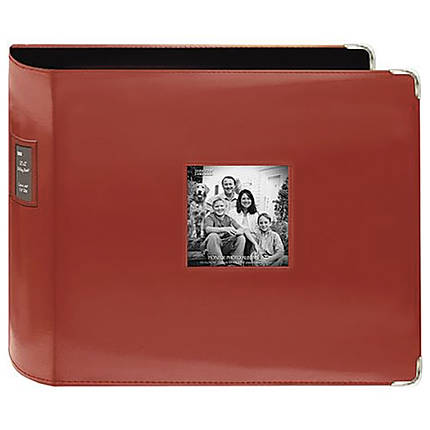 Pioneer 12 x 12 In. Sewn Leatherette 3-Ring Binder Frame Scrapbook - Red