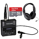 Tascam DR-10L Digital Audio Recorder w/ Lavalier Mic, 16GB Card,  and  Headphone