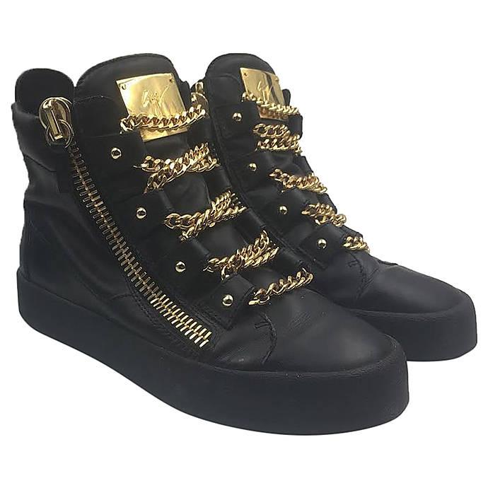 Giuseppe Zanotti Royce Gold Multi-Chain Sneakers Size 40 1 2  a50b82261e2